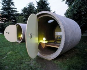 The Das Pak Hotel is in Linz, Austria and each accommodation is a quiet room inside of a sewer pipe.