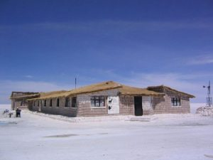 This is the Salt Hotel in Bolivia. The construction is entirely made up of blocks of salt...